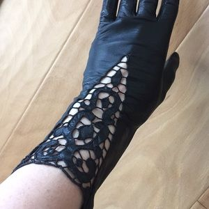 Accessories - Vintage Leather Lace Detailed Gloves